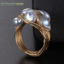 Discount pearl cluster rings white gold - NEW Designer pieces ring gold with baroque pearls hand make ring white yellow and mixed color