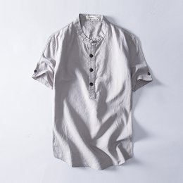 linen slim shirts UK - Mens Pullover Linen Shirts Short Sleeve Summer Breathable Mens Quality Casual Shirts Slim fit Solid Cotton Shirts Male TS-386