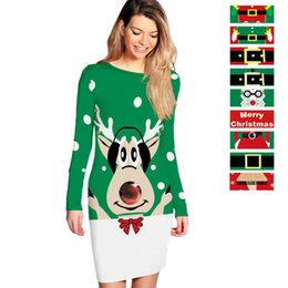 Wholesale clothing packs online shopping - Women Autumn Winter Long Sleeve Christmas Digital Printing Dress Tight Pack Hip Dress Striped Bodycon Dresses Home Clothing OOA5719
