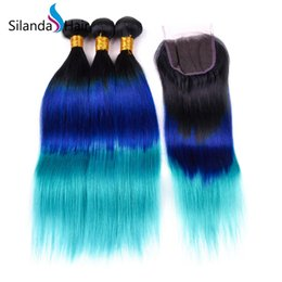 Hair Colors Australia - Silanda Hair Ombre #T 1B Blue Light Blue 3 Colors Straight Remy Human Hair Weaves 3 Weaving Bundles With 4X4 Lace Closure Free Shipping