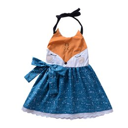 Fox Clothing Wholesale UK - 2018 Kids girls cartoon fox face dresses braces skirt backless princess party orange blue bowknot tutu lace dress girl clothes 1-6Y