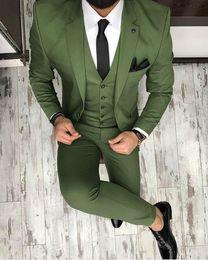 $enCountryForm.capitalKeyWord Canada - Two Buttons Groomsmen Olive Green Groom Tuxedos Notch Lapel Men Suits Wedding Prom Best Man Bridegroom ( Jacket+Pants+Tie+Vest ) K977