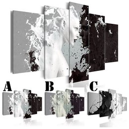 $enCountryForm.capitalKeyWord UK - Wall Art Picture Printed Oil Painting on Canvas No Frame Multi-picture Combination 5pcs set Home Decor Abstract Black and White People