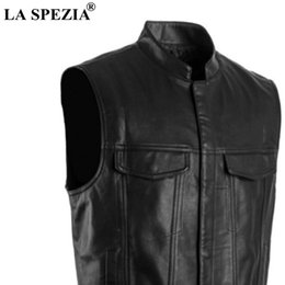 Wholesale waistcoats leather for sale - Group buy Men Vest Black Biker Motorcycle Hip Hop Waistcoat Male Faux Leather Punk Solid Spring Sleeveless Jacket New Arrival