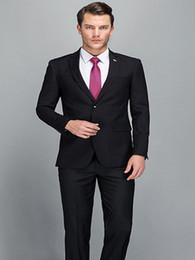 Beige Slim Suits For Men Australia - Custom Made Men Suit 2018 Smart Casual Black Business Suit Wedding Party Suit For Men Slim Fit Formal Tailored Tuxedo 2 Piece (Jacket+Pants)