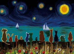 $enCountryForm.capitalKeyWord Australia - 16x20 inches Night Pets On Fence DIY Paint On Canvas drawing By Numbers Kits Art Acrylic Oil Painting Frame For Adult Teen
