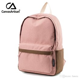 laptop sizes 2018 - Wholesale- Canvasartisan Brand New Women Youth Canvas Backpack School Bags for Teenager Girls Bookbag Female Laptop trav