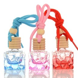 8ml glass bottles Canada - 8ML Square Glass Hang Pendant Refillable Perfume Bottle, Colored Car Hang Scent Container, Hang Pendant bottle F1307