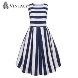 e3b34d7792 20187 Vintacy Elegant Dress daily summer dress a line knee-length  sleeveless o-neck dress striped chic blue casual dresses for women