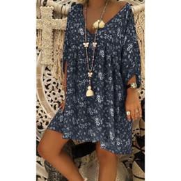 $enCountryForm.capitalKeyWord NZ - Women Summer Boho Floral Long Sleeve V-neck Dresses Baggy Ladies Loose Mini Dress Plus Size