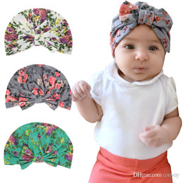 a02ee65c Baby kids floral print hats bunny ear turbon knot caps baby girl bow beanie  Cute flower cotton hats BH132