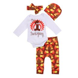 1061f0c44 Thanksgiving Newborn Baby Girl Outfit Set Cotton Fashion Long Sleeve  Bodysuit Cartoon Long Pants Hat Headband Clothes Sets