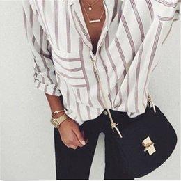 Vente en gros 2017 Nouveau Blouse À Rayures Femmes Blusas Loose Slim Fit À Manches Longues Chemises Femmes De La Mode Top Tout Le Match Pour Les Femmes Blouses