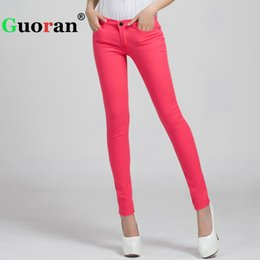 Guoran 2017 Candy Color Women Jeans Pencil Pants Plus Size Stretch Jeans  Leggings Female Trousers 25-31 Skinny Denim Jeans Pant S18101604 369c78b7b966