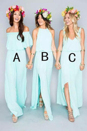 $enCountryForm.capitalKeyWord NZ - 2019 Summer Beach Bohemian Mint Green Bridesmaid Dresses Flow Chiffon Side Split Boho Custom Made Cheap Bridesmaid Gowns vestidos de novia