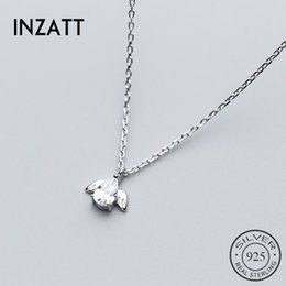 plain silver pendants Australia - INZATT 2018 Cute Angel Shape Real 925 Sterling Silver Women Pendant Necklaces Petite Plain For Girls Kids Lady Fine Jewelry Gift