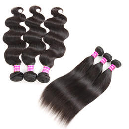 Wholesale 10A Grade Brazilian Virgin Hair Straight Human Hair Weaves 3 Bundles 16 inches body Wave Wefts remy Hair Extensions Natural Color Wholesale