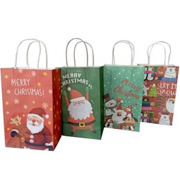 $enCountryForm.capitalKeyWord Canada - 40Pcs lot Christmas Paper Bag 21*13*8cm Multifuntion Festival gift bag with Handles Christmas Party Supply For Party Wholesale