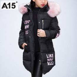 Ingrosso Giacche per bambini Abiti spessi caldi Parka Girl Winter Kids Giacche per ragazze Vestiti adolescenti Cappotto lungo con cappuccio Taglia 8 10 12 Year