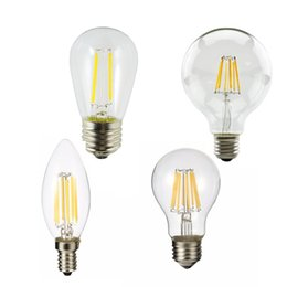 replacing incandescent bulbs 2018 - LED Filament Light Bulbs E27 Led Lights 4W 6W 8W A60 Vintage Glass Edison Ampoule Led Bulb 220V Replace Incandescent Lam