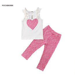 Baby Boy Vest Outfits Canada - Top Selling Kids Baby Girl Clothes Set Floral Heart Print Sleeveless Vest Top Long Legging Pants Summer Fashion Outfit suit 2018