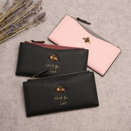 brand business card 2019 - Hot sales Newest high quality brand Genuine leather womens Zipper wallet,Large-capacity purse with Metal bee,Top quality