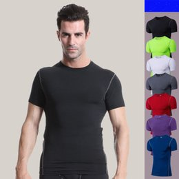 d5a6b300416 men tight exercise and fitness wear gym clothing outdoor compression qicke  dry T-shirt running crop tops skins gear wear sports fitness