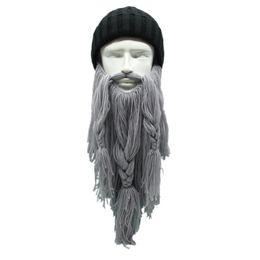 funny ski hats 2019 - Men's Barbarian Beard Horn Hats Handmade Winter Warm Hunting Ski Birthday Cool Gifts Funny Gag Cap 1 piece New chea