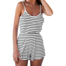 Rompers Catsuit Jumpsuits Australia - Women Casual Ladies Jumpsuit Romper Summer Beach Striped Backless Vest Playsuit Rompers womens jumpsuit Macacao feminino Catsuit