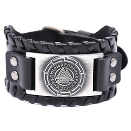 Chinese  Lemegeton Drop Shipping Odin 24 Norse Runes Slavic Amulet Sigil Bangles Mens Wide Leather Bracelets Viking Europe Designer Bracelet manufacturers