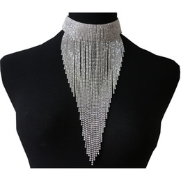 China 3 Colors Long Tassel Choker Crystal Jewelry Shiny Rhinestone Chain Sexy Collar Necklace for Women Fashion Novelty Jewelry supplier sexy necklaces women suppliers
