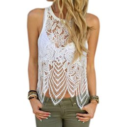 $enCountryForm.capitalKeyWord Australia - 2019 Womens Sexy Lace Crop Top T-shirts Vests Blusas Hollow Out Lace Crochet Tank Top Camisole Lace Vest Cami Floral Tees Shirts