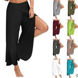 wide leg yoga pants UK - New arrival summer and spring women's pants cotton ten colors open sideways personality yoga pants wide legged trousers