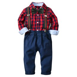 $enCountryForm.capitalKeyWord UK - Baby Boys Clothes England Style Bow Checks Shirts + Suspender Pants 2 Piece Set Autumn Outfits for Children Kids Clothing Sets