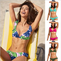 $enCountryForm.capitalKeyWord NZ - New Swimwear Miss Flounce Bikinis Sexy Low Rise Leaves Pattern Designs Falbala Swimsuits for Women Two Piece Set
