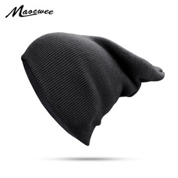 Chinese  Autumn Winter Solid Black Beanie Hats Solid Ski Hat Knitted Skuilles Beanies Women Men Lady Unisex Plain Warm Soft Bone Cap 2018 manufacturers