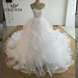 $enCountryForm.capitalKeyWord NZ - wholesale real photos luxury Lace Pearls Lace Appliques Ruffles wedding Dresses Customer Order Cathedral  Royal Train