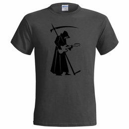 Wholesale Male Best Selling T Shirt Cool Grim Reaper Guitar Player Mens T Shirt Rock Metal Goth Music Heavy Gift Summer Tee Shirt