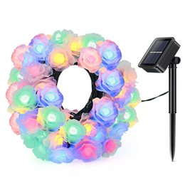 $enCountryForm.capitalKeyWord Australia - Waterproof Outdoor Lighting String Roses 20 LEDs Solar Lamp Strip Garland Christmas Wedding Holiday Home Decoration Wholesale Dropship