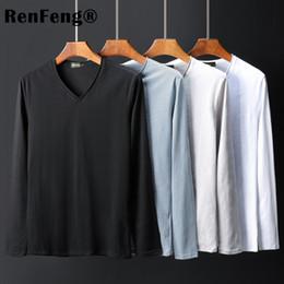 Discount man t shirt underwear cotton - Bamboo Fiber Hot Sale New spring high-elastic cotton Underwear men's long sleeve v neck tight t Undershirts men shi