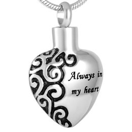 Urn Pendants NZ - Beautiful Funeral's Keepsake Gift Always in My Heart Cremation Urn Pendant Necklace for Ashes Stainless Steel Memorial Jewelry
