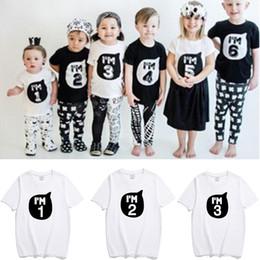 New Baby Boys Girls INS IM Number T Shirts Children Ins Cotton Cartoon Short Sleeve Kids Clothes 1 6T Birthday Gift