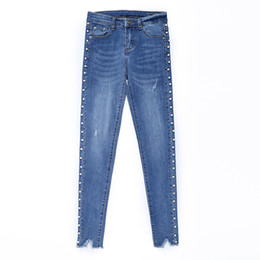 loose pearls 2019 - Autumn Women Frayed Hem High Waist Blue Zipper Pants Fashion Pearl Beaded Pencil Denim Jeans Ripped Skinny Jeans discoun