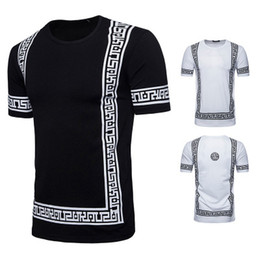 Long sLeeved t shirt men online shopping - Luxury Pattern Design Men T shirts Summer Homme Cotton Crew Neck Tees Short Sleeved Black White Color Clothes