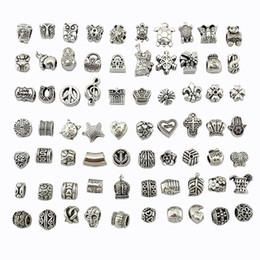 venda por atacado VENDA! MIX Contas Antique Banhado A Prata Liga Grande Buraco Encantos Spacer Beads fit pandora pulseira DIY Jóias Colares Pingentes encantos