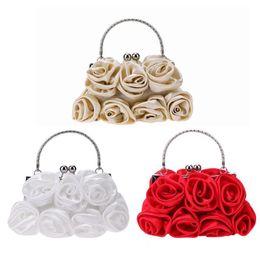 $enCountryForm.capitalKeyWord Australia - Elegant Women Satin Rhinestone Handbag Small Evening Bags Rose Floral Women's Party Clutch Flower Female Wedding Handbags White