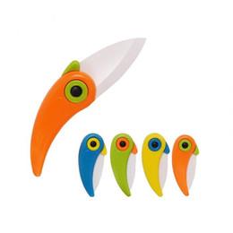 $enCountryForm.capitalKeyWord NZ - Mini Bird Ceramic Pocket Knife Folding Fruit Paring Knifves With Colourful ABS Handle Kitchen Tools Gadget