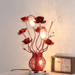 Red Bedside Tables Canada - Bedroom Bedside Lamp led Crystal Desk Lamp Creative Aluminum Luminaire Red Rose Wedding led Table Lamp Birthday Party Decorating Light led N