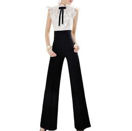 Wide Leg Work Pants Canada - Vintage Office Loose Women Pants Trousers Zipper High Waist Pocket Front Flare Wide Leg OL Office Career Capris Work Wear Black
