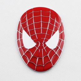 Red Car Badge Logo NZ - Car Badge Accessories 3D Sticker Decal Red Spider Man Mask Emblem Logo Decorate